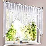 HongYa Kuvertstore transparenter Voile Gardine mit Satinbänder Kräuselband Vorhang H/B 120/600 cm Weiß