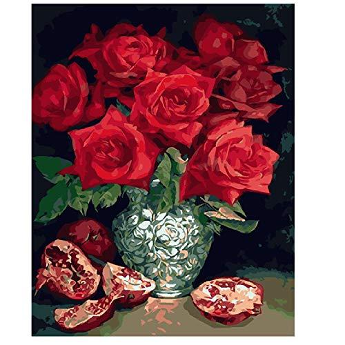 LQEpainting DIY Ölfarbe von Number Kit, Malerei Paintworks Zeichnen mit Pinsel Weihnachtsdekorationen Geschenke (ohne Rahmen) -Rose und Granatapfel 40x50cm -