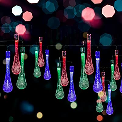 Solar LED Water Drop String Lights – 20ft, 30 LED Bulbs – Nicest Multi-color Waterproof Fairy Lights for Home & Garden, Christmas Tree, Window, Fence, Party & Holiday Decorations – Easy Installation! produced by Abco Tech - quick delivery from UK.