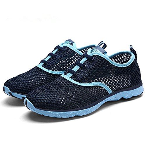 YIRUIYA Damen Aquaschuhe Gitter Fitnessschuhe Wassersportschuhe Bootsportschuhe Schwimmschuhe Blau DrSweYux