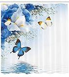 Abakuhaus Duschvorhang, Schmetterlinge der Natur die über Einen Fluss Schwimmen Campanula Cespitosa Glocken Blumen Blau, Wasser und Blickdicht aus Stoff mit 12 Ringen Schimmel Resistent, 175 X 200 cm