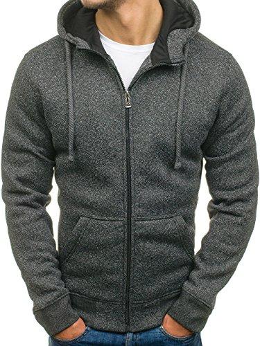 BOLF Herren Sweatshirt mit Kapuze Reißverschluss Pullover Basic sportlicher Stil Mix 1A1 Anthrazit_TC12