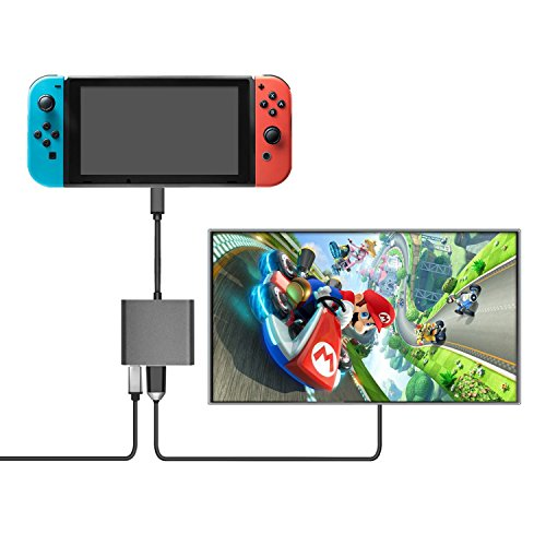 Price comparison product image Type C to HDMI Adapter,  Younik 3-in-1 USB Type C to HDMI Adapter (4K),  USB 3.0 and Charging Converter for Nintendo Switch,  MacBook Pro,  Samsung Galaxy S9 / S8 / Note 8,  iMac,  Surface Book 2,  Dell XPS 13 / 15