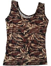Damen Tank Top / Träger Shirt in trendy Army Camouflage Print, skinny fit, hoher Elasthananhteil. Größen M/L, XL/2XL