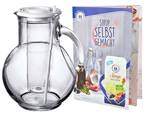 MamboCat Krug/Kanne/Karaffe Kufra aus Glas 2L mit EIS/Eiswürfel-Einsatz und weißen Rührstab und Deckel + Sirup Rezeptheft