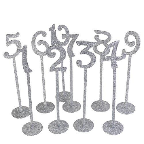 ROSENICE Holz Tabelle Karte Halter 1-10 Für Hochzeit mit Silber Glitter 1-20, 20pcs -