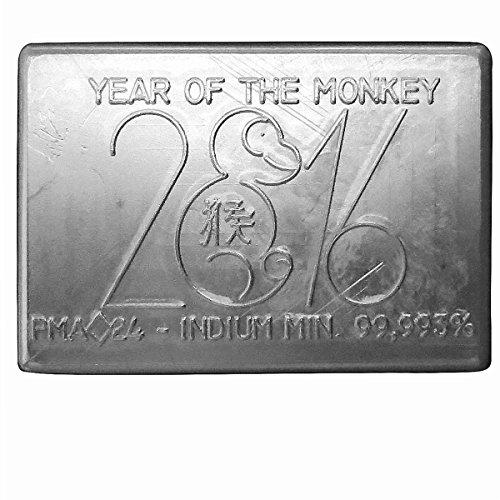 Preisvergleich Produktbild Indium Barren 250 Gramm Lunar Serie - Jahr des Affen 2016 -Verifizierter Indium Barren handgegossen