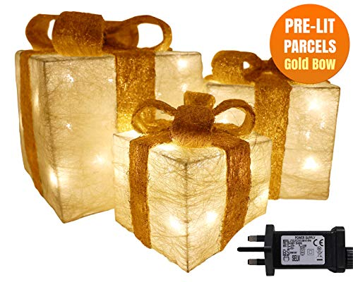 Christmas Decorations Sale Pre Lit Light Up Christmas Parcels Gift Box Illuminated Presents Ornaments Gift Set of 3 Cream Jute Glitter Parcels Gold Bow 55 LEDs Mains Powered Tree Decoration