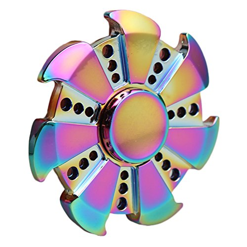 Walwh Wind Wheel Colorful Zinc Alloy Hand Spinner Fidget Finger Toy Anxiety Stress Reducer
