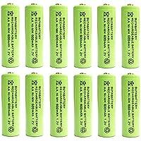 BuyaBattery AA 1.2v 600mAh NiMH Rechargeable Solar Light Batteries for Outdoor Garden Solar Lights (12 Pack)