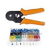 flintronic Alicates Que Prensan para Terminal Cables, Alicates con Trinquete para Brida Cuadrilátera en Acero Carbono Durable con 800 Terminales de 0.25-6.0mm2(naranja)