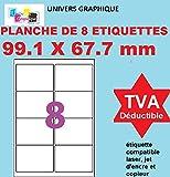 160 étiquettes étiquettes pour adresse blanches adhésives 99.1 x 67.7 mm etiquettes 99,1 x 67,7 mm = 20 feuilles de 8 étiquettes autocollantes pour imprimante jet d'encre et laser UGE08- l7165