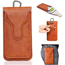 YiJee Phone Bags,Double Pockets Phone Pouch Holster PU Leather Cases with Carabiner Model Hook Loop Belt For iphone Smart Phone Protective Cases 5.5inch (Orange) …