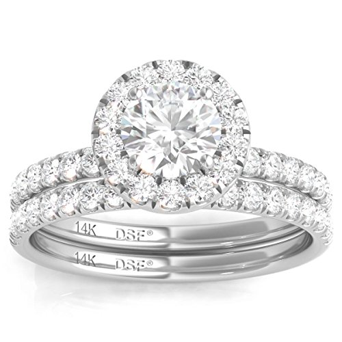 Diamond Studs Forever - 1.50 Carats Total Weight Diamond Halo Wedding Ring Set GH/I1 14K White Gold