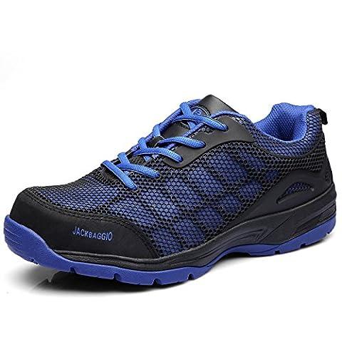 Herren Athletic Steel Toe Breathable Mesh Leichtgewicht Schuh JACKBAGGIO 8824 (8 UK / 42 EU, Blau)