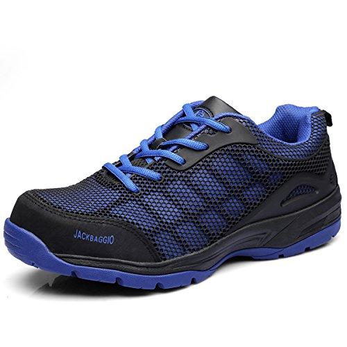 Athletic Bogen-unterstützung (JACKBAGGIO Herren Athletic Steel Toe Breathable Mesh Leichtgewicht Schuh 8824 (8 UK/42 EU, Blau))