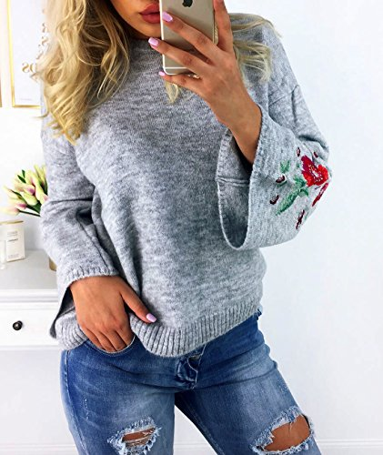Femmes Chemisiers L'hiver Élégant Casual Haut Sweater Pullover Loose Pull en Pull Brodé de Trompette Manche Tops Gris