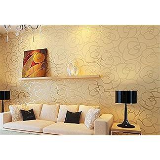 ufengke No Tejido Bronceadores Flocado Romántico Rosa Patrón de Flores 3D Papel Pintado Mural Para La Sala de Estar Dormitorio Matrimonio, Muestra