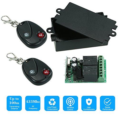 OWSOO Control Remoto Universal Inalámbrico Módulo de Receptor 433Mhz DC 12V 2CH 10A y 2PCS 2 Claves RF 433 MHz Mandos a Distancia del Transmisor 1527 Chip Automatización del Hogar Inteligente