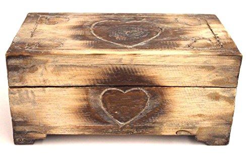 Truhe aus Holz Herz Motiv 25 cm ideales Geschenk Box Kiste Aufbewahrung
