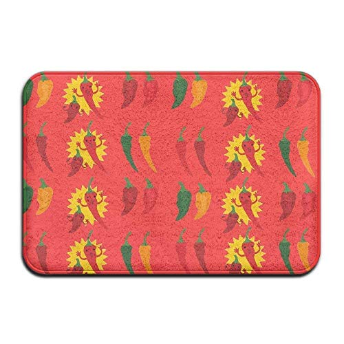 Casepillows Door Mats Soft Non-Slip Hot Peppers Chili Bath Mat Coral Rug Door Mat Entrance Rug Floor Mats for Front Outside Doors Entry -