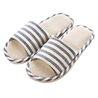 APIKA Women and Men's Comfortable Casual Cotton Flax Slipper Indoor Use(Navy Blue 44/45EU)