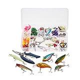Docooler 101PCS Kit di Esche Misto Duri Popper Crankbait VIB Galleggiante Ami da Pesca Accessori Pesca con Storage Box