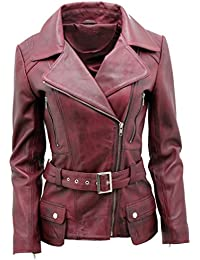 Ladies Burgundy Long Feminine Leather Biker Jacket