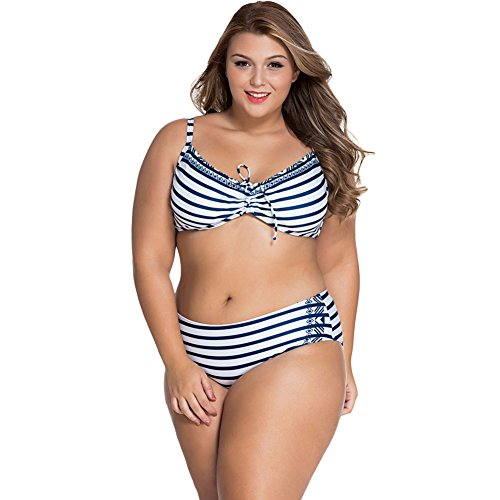 meinice Rosa Bianco a righe Curvy Underwire Swimsuit Navy XX-Large