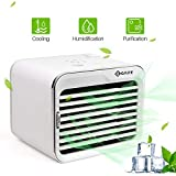 honeyway Mini Portable Air Cooler,Humidifier Evaporative Cooler USB Mobile Personal Space Air Conditioner 3 Speed Fan with Adjustable 7 Colors LED for Home Office Desk Bedroom Indoor Outdoor