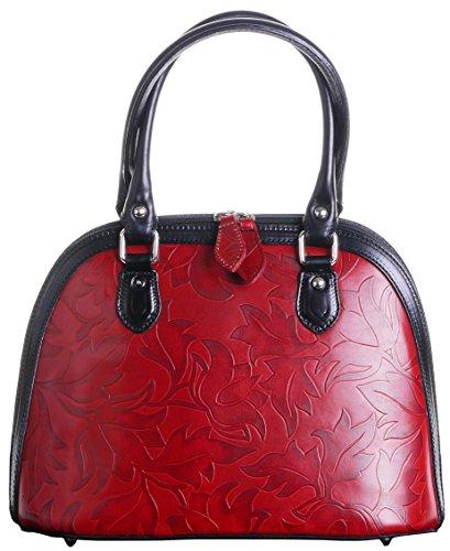 06f5fa3bfbd04 Italienisches Leder Blattentwurf geprägte Bowling Stil Griff an der  Oberseite Hand Tasche Bauchtasche Umfasst eine Marke schützenden  Aufbewahrungstasche Rot ...