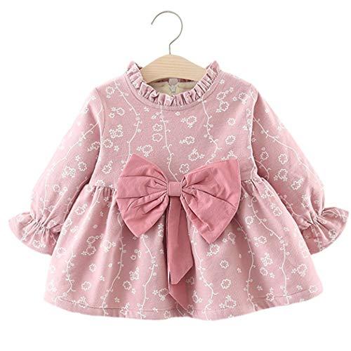 Baby Mädchen Kleider, Allskid Winter Langarm Weiße Blume Warmer SAMT Rosa Bowknot Süss Prinzessin Girls Dress