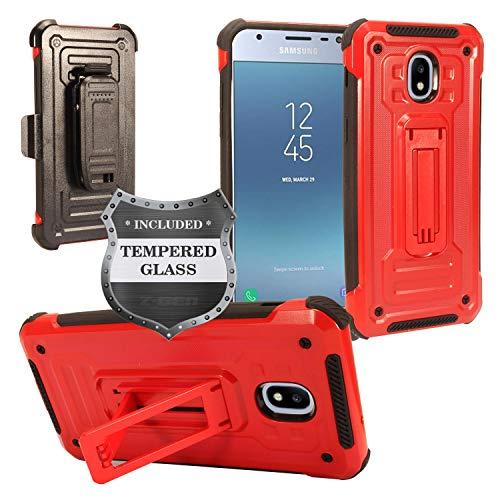A/v-ständer Glas (Für Samsung Galaxy J3(2018), J3Erreichen, J3Star, Sol 3, Express Prime 3, Amp Prime 3, J3V J3V 3. Gen. J337 Fall w/Ständer/Gürtelclip + gehärtetem Glas Displayschutzfolie, ST3 Black/Red)