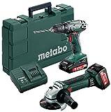 Metabo 685082000 Combo Set 18 V Bohrschrauber BS Akku-Winkelschleifer W 18 LTX 125 Quick, grün grau schwarz rot