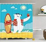 tgyew Sea Animals Decor Shower Curtain Set, Polar Bear with I Love Summer Surfboard Taking Selfie at The Beach Comic Fun Art, Bathroom Accessories, 60W X 72L Inche, Aqua Yellow