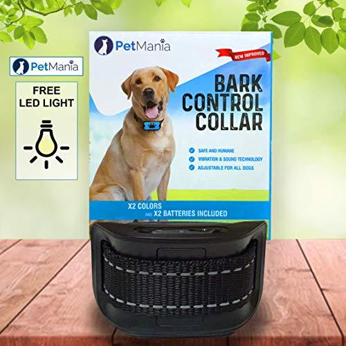 Anti-bell Hundehalsband Vibrationshundehalsband PetMania, OhneSchock, Harmlos und Human, Halsband für trainieren und gegen Bellen, 7 moderne verstellbare Stufen (Schwarz)  -