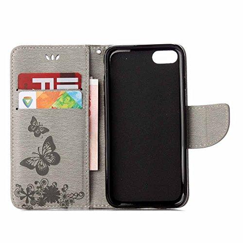iPhone 8 Plus Custodia, COOSTOREEU Copertura della cassa del basamento del supporto del raccoglitore di cuoio dellunità di elaborazione della farfalle per Apple iPhone 8 Plus,Rosa Grigio