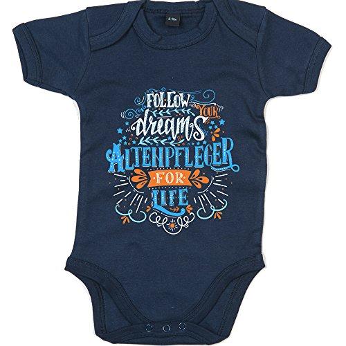 Flowerpower Altenpfleger #1 Babybody | Berufe | Follow Your Dreams | Traumberuf | Junge | Kurzarmbody, Farbe:Blau (Nautical Navy BZ10);Größe:0-3 Monate