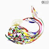 Ballena-Figura decorativa de cristal de Murano hecha a mano-Original cristal de Murano OMG