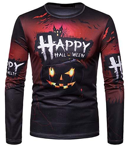 WHATLEES Unisex Halloween Druckmuster T-Shirt - Hip Hop mit 3D Druck Geschenk Kürbis Cosplay Kürbislicht Monster ()