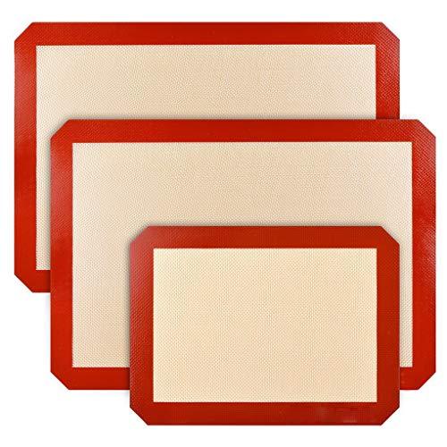 Dergtgh 3pcs Silikon-Backen-Matte Nonstick Halbblatt Liner für Backen Pfannen Rollen Einzigartige Plätzchen-Backen-Supplies (Silikon Cookie Blatt)