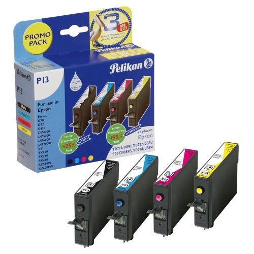 Preisvergleich Produktbild 1x Pelikan Promopack P13 für Epson Stylus DX 8400, 8450, 9200 - BLACK, CYAN, MAGENTA, YELLOW - + 100 Blatt Ti-Sa Fotocards 10x15 cm 210g glossy