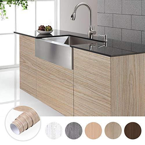Holztapete Selbstklebende Folie Thicken Naturholz Möbelfolie 0.61 * 5M Wasserdicht Tapeten Möbelsticker Küchenfolie Holzoptik Aufkleber aus PVC Farbe E