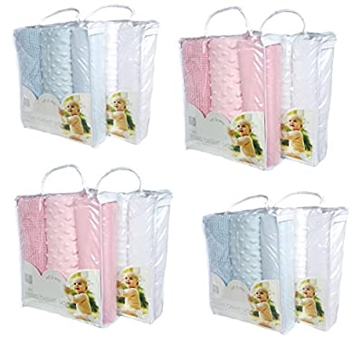 Set of 2 packs Moses baby Bedding set - Blue and White - OR - Pink and White - cheap UK light shop.