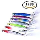 Veapup 7 pcs le Jigging Pêche appâts artificiels Leurre pour pêche Offshore coloré avec queue Animal plumes coloré lumineux 40 g/8 cm (lot)