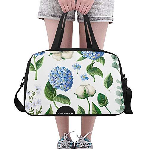 Yushg Reine Baumwolle Blumenstrauß benutzerdefinierte große Yoga Gym Totes Fitness Handtaschen Reise Seesäcke mit Schultergurt Schuhbeutel für die Übung Sport Gepäck für Mädchen Mens Womens Outdoor