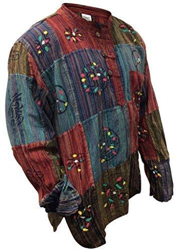 Shopoholic Fashion stonewashed Streifen Oberteil mit Patchwork, bunt, Hippie - Multi Farben, Medium (Hippie Patchwork)