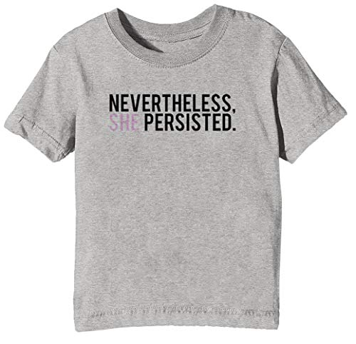 #ShePersisted Licht Design Kinder Unisex Jungen Mädchen T-Shirt Rundhals Grau Kurzarm Größe XS Kids Boys Girls Grey X-Small Size XS - Hillary Light T-shirt