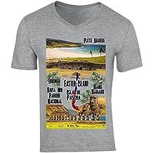 teesquare1st Chile Easter Island Camiseta Gris para Hombre de Algodon