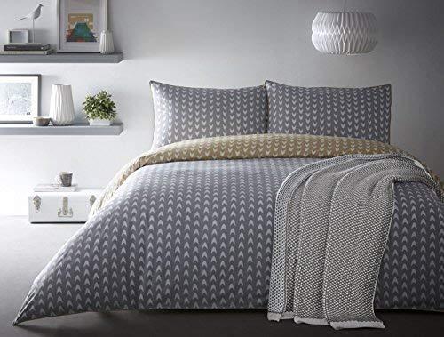 Gelb Grau Weiß Verrohrt 100% Cotton Einzel Bettwäsche ()